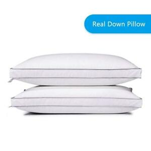 2x Goose Down Bed Pillow 100% Egyptian Cotton Luxury Pillows Queen King Size