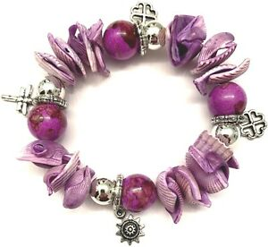 NEW PURPLE LAVENDER SILVER CHARM BRACELET BEADS CHARMS FLOWER SUN DRAGONFLY HART
