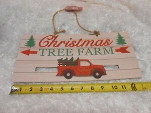 New wooden wall hanging glitter Christmas Tree Farm Sign plaque sliding truck