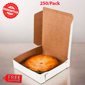 250 Pack 10quot; x 10quot; x 2 1 2quot; White Square Pie Cookie Pastry Bakery Take Out Box $78.46