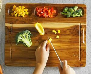 Extra Large Teak Wood Cutting Board 17.8'' x 14'' For Kitchen- US STOCK