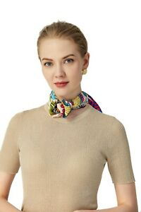 100% Silk Mulberry Scarf Small Square For Women Scarves Hair Bandana Neckerchief $13.99