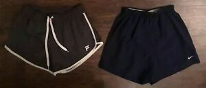 LOT OF 2 NIKE DRI-FIT & FILA SPORT Women's Brief Lined Running Shorts Size Small