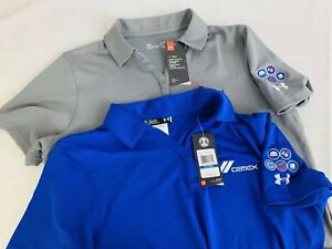 Lot Of 2 Under Armour Wimens Heat Gear Golf Polo Cemex Shirts Size XL NWT