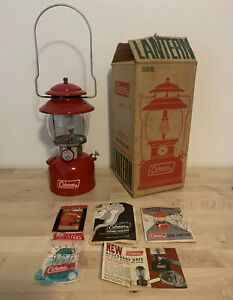 vintage coleman lantern 200a Red 1973 Wbox Papers