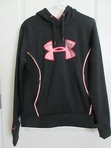 Under Armor Cold Gear Black Pink Camo Hoodie-Woman's Large-Loose Fit-Lined Hood