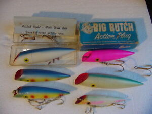 Lot of 6 Diff. Vintage BIG BUTCH SALMON LURES and 2 Boxes 1 Is Cardboard