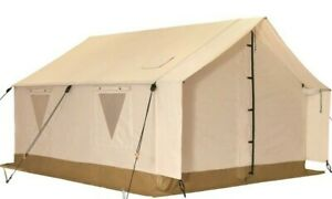 Canvas Wall Tent 10'x12' wAluminum Frame & Fire Retardant for Hunting & Camping