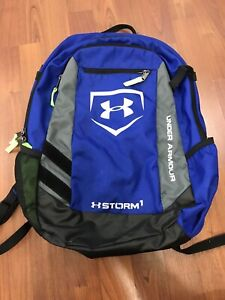 Under Armour Storm 1 Backpack Blue Neon Yellow Gray Black White
