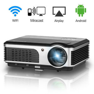 4200lm Smart Home Theater Projector Android Wifi Online Movie Game 1080p HDMI US