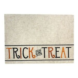 Celebrate Halloween Together Trick or Treat Embroidered Fabric Placemat NEW