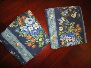 VINTAGE ST. MARY'S BLUE ROSE COORDINATE FLORAL (2PC) TWIN FITTED, FLAT SHEET SET