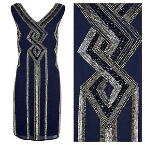 Kaleidoscope Sz 16 Navy Beaded Shift DRESS 20's Flapper Occasion Party Xmas £99
