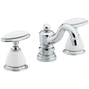 Antique 8 in. Widespread 2-Handle Low-Arc Bathroom Faucet in Polished Chrome
