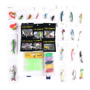 52pcs Saltwater Soft Hard Fishing Lures Kits Crankbait Popper Metal Jig Box