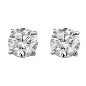 0.80ct Round Solitaire Natural Diamond 14K White Gold Stud Earrings
