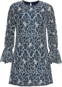 Bodyflirt Plus Size 20 Navy Blue Embroidered DRESS Lace Flare Sleeve Xmas Party