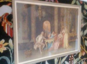 VINTAGE Victorian Framed Print HUGE 42quot; X 26quot; quot;CHESS GAMEquot; BY Francesco Beda