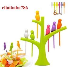 Plastic Fruit Fork Food Birthday Party Stick With Tree Shape Plastic Stand $9.56