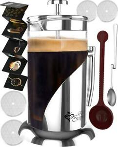 FRENCH PRESS COFFEE  TEA MAKER COMPLETE BUNDLE | 34 OZ | GERMAN GLASS