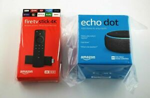 New Fire TV Stick 4k + Echo Dot 3rd Gen Charcoal (Brand New & Sealed Free Ship)