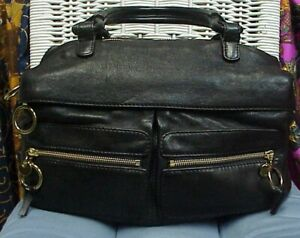 CHLOE' designer large black leather handbagshoulder bagsatchel Authentic!!