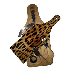 Cutting Board Wine and Glass Cheese Board Gift Set Leopard Print