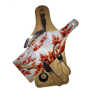 Cutting Board Wine and Glass Cheese Board Gift Set Tree Asian Red Blossoms