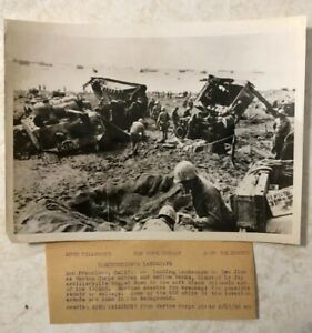 WW2 Original ACME Telephoto Destruction's Landscape Battle of Iwo Jima D Day