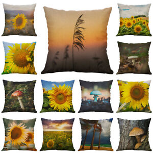 Home Cover Case Mushrooms Decoration Linen 18#x27;#x27; Cotton Cushion Sunflowers Pillow $3.16