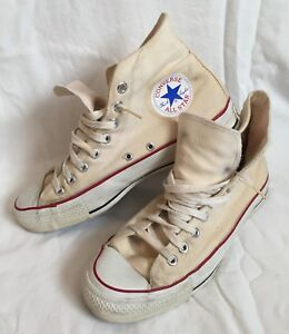 Vtg CONVERSE All Star Chuck Taylor High Top Sneakers Mens 9.5 USA Natural Canvas