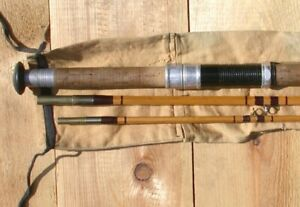 """Vintage 3 Piece """"R. Wilson"""" Bamboo Fly Rod with Canvas Case"""