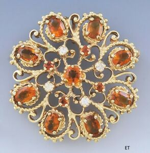 Charming Retro 14k Gold Diamond & Citrine Pin  Brooch  Pendant