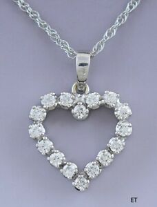 Charming 18k White Gold & ~.48ct Diamond Heart Pendant w 14k Chain