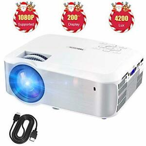 Home Movie Video LED Projector 1080P 4200Lux w Speakers TV Stick PS4 HDMI VGA