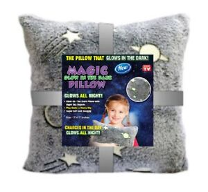 Kids Glow Pillow In The Dark - Star Night Objects - Glow Throw Pillow Super Soft