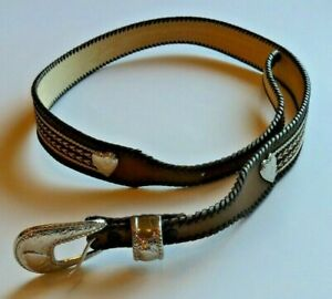 Wrangler Women#x27;s Brown Leather Belt with Stitchwork Hearts Silver Buckle