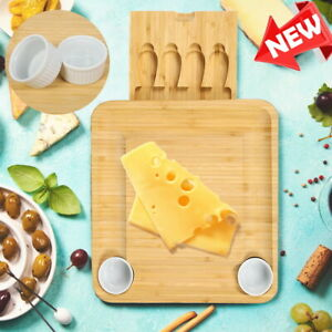 Cheese Board & Cutlery Set Bamboo Charcuterie Platter Serving Tray for Xmas Gift
