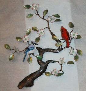 2 Cardinals in Tree Metal Bird Wall Art Sculpture Bovano of Cheshire Stock #465