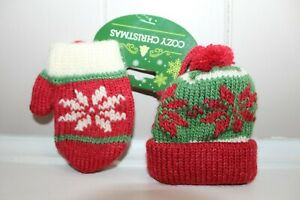 Christmas Hat and Mitten Ornaments Winter Snowflake