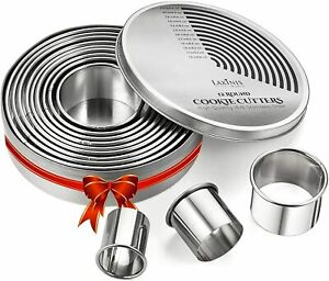 Round Cookie Biscuit Cutter Set 12 Graduated Circle Pastry Cutters Heavy Duty $17.99