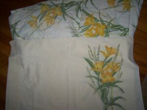 TASTEMAKER YELLOW LILLY FULL SIZE SHEET SET FLAT FITTED 2 PILLOWCASES