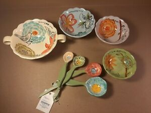 Coldwater Creek Hand Painted Measuring Bowls And Spoons Clay Art