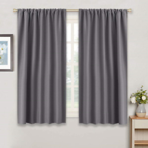 RYB HOME Gray Blackout Curtains for Kitchen 42quot; W by 45quot; L Grey Set of 2 Noise