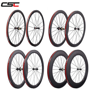 CSC carbon fiber bicycle wheelset clincher tubular tubeless road bike wheel 700C $565.28
