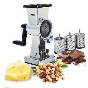 Rotary Cheese Grater Stainless Steel Body Drum Slicer Shredder Grinder 7.5