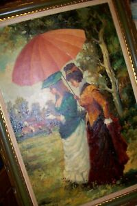 3'Oil Wall ART PAINTING~Southern Belle RARE Victorian Mansion Ladies Old Clothes