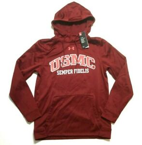 Under Armour Cold Gear Hoodie Sweatshirt Marine Corps Mens Small Loose Maroon $29.25