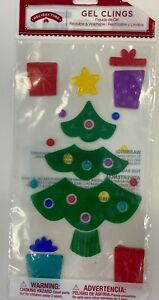 Merry Christmas Trees Present Window Gel Clings Classroom Party Decor
