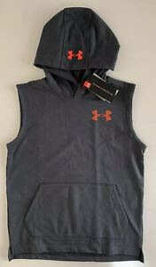 Under Armour Boys Threadborne Sleeveless Fleece Hoodie 1309316 Gray Youth M XL $27.00